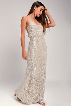 Broadway Silver Sequin Sleeveless Maxi Dress Silver Sequin Dress, Sequin Maxi, Sequin Mini Dress, Gold Sequins, Silver Sequin Bridesmaid Dresses, Classy Dress, Dresses Online, Strapless Dress Formal, Beautiful Dresses