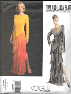 2799 UNCUT VOGUE DESIGNER PLATT LONG OVERLAY DRESS Pattern Sz 18-22   #Vogue
