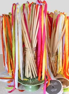 DIY Ribbon Wands for the kids! How fun!