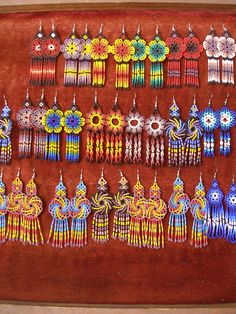 Specializing in rare selected Mexican Folk Art and Crafts and prehispanic instruments Seed Bead Art, Seed Bead Jewelry, Beaded Jewelry, Jewellery, Beaded Earrings Patterns, Bead Earrings, Beading Patterns, Native Beadwork, Native American Beadwork