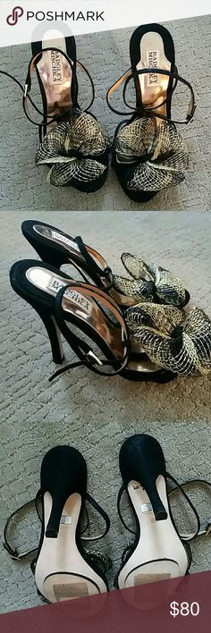 🎉HP Style Obsessions 9/22🎉 Badgley Mishka shoes Authentic Badgley Mishka strap shoes.  Black Suede with black and gold mesh bows on the toe.  NWOT, no box. 3.75 inch heel height. Badgley Mischka Shoes Heels
