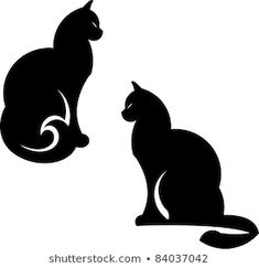 Vector Cats Illustration Isolated On White Stock Vector (Royalty Free) 84037042 Black Cat Silhouette, Silhouette Images, Cat Vector, Vector Art, White Stock Image, Embroidery Patterns, Stencils, Vectors, Royalty Free Stock Photos