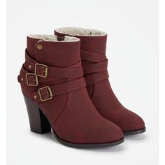 Justfab Booties Yarah (€37) ❤ liked on Polyvore featuring shoes, boots, ankle booties, red, faux suede boots, high heel booties, bootie boots, red high heel booties and platform ankle boots