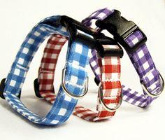 Sunday Picnic  Gingham  Adjustable Dog Collar by playfulpup