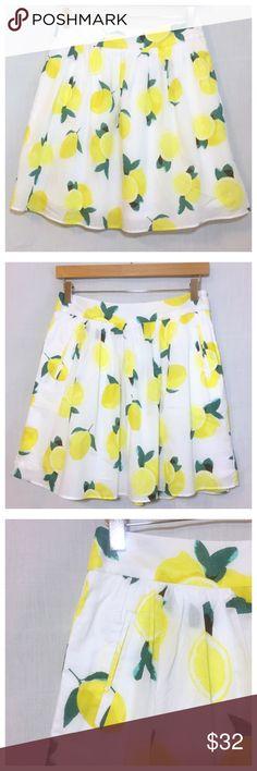 "HP🍋 Cynthia Rowley Lemon Drop Full Skirt Pockets Cynthia Rowley Lemon Drop Full Short Skirt With Pockets  • size 2 • Cynthia by Cynthia Rowley brand • 100% cotton • Fully lined • Full skirt • Slit pockets • Side zipper with hook and eye closure • 14"" waist, measured flat • 18"" length Cynthia Rowley Skirts Mini"