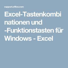 Excel-Tastenkombinationen und -Funktionstasten für Windows - Excel