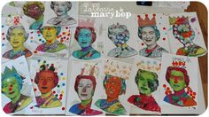 Portraits of Queen Elizabeth. Group Art Projects, School Art Projects, Art Lessons For Kids, Art Lessons Elementary, Around The World Crafts For Kids, Europe Day, Christmas In England, Coin Art, Elisabeth