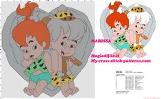 Cross stitch pattern Baby Puss and Bamm Bamm Rubble the flinstones