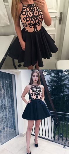 Cute black short prom dress, homecoming dress – trendty #homecomingdresses