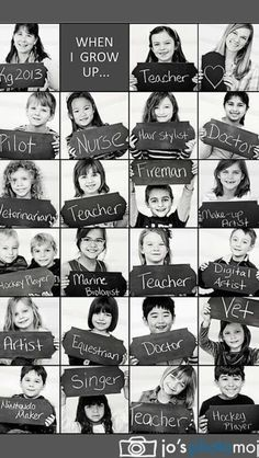 Kindergarden graduation idea: Take pic at kindergarten or preschool graduation of what the kids want to be when they grow up. End Of School Year, End Of Year, High School, Middle School, Student Gifts, Teacher Gifts, Gifts For Students, Student Teacher, Orla Infantil
