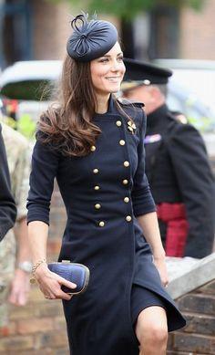 Kate in navy McQueen ensemble