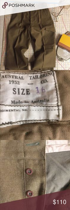 "Deadstock 1952 Australian Army battle dress pants Mint! Never worn. 100% wool made in Australia in 1952 for the Australian Army. Pants have 26 buttons, waist cinchers, buttons to narrow cuff, reinforcing in the crotch, buttons for suspenders and more. So many cool features. Pants aren't made like this any more and military garb is no longer this fashionable. Pants are tagged and Australian 16 and measure 16"" at the waist, have a 16"" rise and a 35"" inseam. Astral Tailoring Pants Cargo"