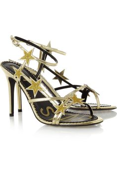 REDValentinoStar embellished metallic leather sandals Original price $650