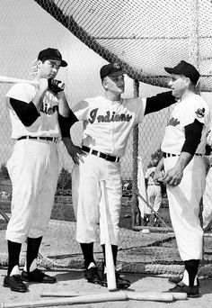 Rocky Colavito, Roger Maris, and Gene Woodling of the Cleveland Indians, at the batting cage, 1958.