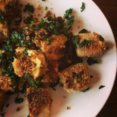 Crispy Ginger Tofu Bites with Greens (vegan, gluten free)