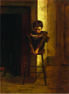 Eastman Johnson Little Boy on a Stool, painting Authorized official website