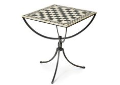 Chess Game Table in Nickel and Bone