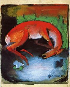 Dead Deer - Franz Marc, 1913, wildlife painting, expressionism style
