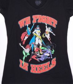 c61dabdb63 DC Comics Women's Juniors Classic We Fight In Heels V-neck Black Tshirt Size  MED
