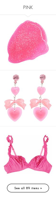 """""""PINK"""" by headshapes ❤ liked on Polyvore featuring Pink, pale, pastel, filler, jewelry, earrings, accessories, pink, women's jewelry and heart shaped jewelry"""