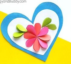 Homemade heart and flower card craft for kids - buggy and buddy Homemade Birthday Cards, Homemade Valentines, Homemade Cards, Easy Crafts For Kids, Diy Crafts, Mather Day, Heart Template, Crown Template, Flower Template