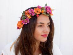 Orange flower  crown Gold Spring wedding hair by BlackSwanFeather