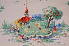 1940's+Vintage+Wallpaper+cute+country+houses+by+HannahsTreasures