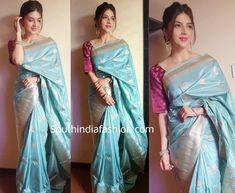 Mehreen Pirzada in a blue Banarasi silk saree – South India Fashion Blue Silk Saree, Purple Saree, Silk Lehenga, Soft Silk Sarees, Banarasi Sarees, Bridal Blouse Designs, Saree Blouse Designs, Indian Designer Outfits, Indian Outfits