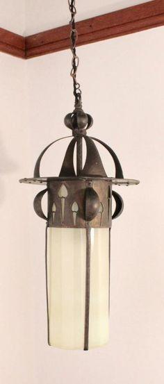 antique art nouveauarts and crafts copper u0026 vaseline glass hanging lantern
