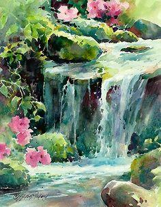Julie Gilbert Pollard WATERCOLOR acquerello waterfall cascata ruscello stream fiori flowers realism