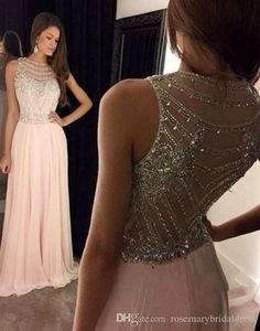 2016 New Pearl Pink Backless Prom Dresses Modest Evening Dress With Sparkle Beads Long Chiffon Formal Gown For Senoir Teens - Thumbnail 2 Blush Pink Prom Dresses, Prom Dresses 2016, Backless Prom Dresses, Plus Size Prom Dresses, A Line Prom Dresses, Cheap Prom Dresses, Dance Dresses, Simple Dresses, Pretty Dresses