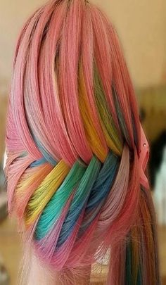 Multi hair color Messy Braided Hairstyles, Ethnic Hairstyles, Pretty Hairstyles, Hippie Style, Pelo Multicolor, Hair Places, Rainbow Braids, Pretty Hair Color, Latest Hair Trends