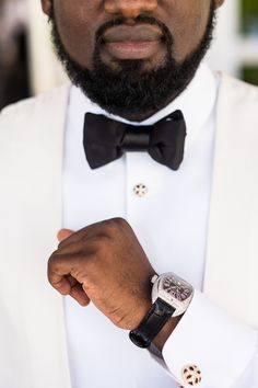 White suit with black bowtie. Image by Du Wayne Denton White Tuxedo, White Suits, Groom Style, Luxury Watches For Men, Luxury Wedding, Groomsmen, Wedding Planner, African, Image