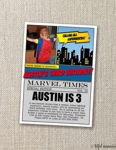 DIY Printable Invitation Superhero Birthday by totfulmemories, $15.00