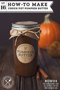 Wonderful GF post/recipe says: Smooth, thick and creamy and tastes very reminiscent of a pumpkin pie - makes a really thoughtful gift, especially if you make the jar all pretty and add some personalized labels | Tasty Yummies // Bonus: free downloadable label