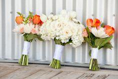 Beautiful spring bouquets   Rustic Aqua and Orange Wedding