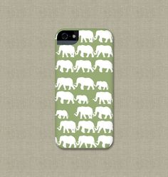 Elephants on Parade iPhone 5 Case, Green and White Elephant Cell Phone Cover, iPhone 5S, iPhone 5C Case