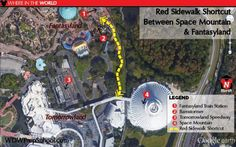 MK Space Mtn Red Shortcut 01 - Time-saving shortcut paths at Disney World Disney Secrets, Disney World Tips And Tricks, Disney Tips, Disney Fun, Disney Magic, Disney Travel, Disney Stuff, Disney Surprise, Disney World 2015