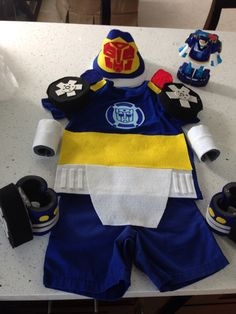 Chase the rescue bot costume. Felt, foam, fabric glue, and a blue shirt and shorts.