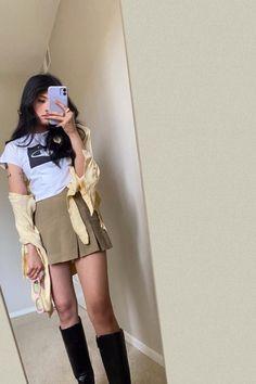 #preppyskirt #meminebrand #ootd #summeroutfit #schoolskirt Preppy Skirt, Shirt Dress, T Shirt, Leather Skirt, Summer Outfits, Skirts, Ootd, Shopping, Dresses