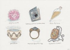 """Harry Potter Artifacts; Books 1-7,"" ink and watercolor, 2013."