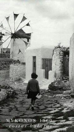 Island of Mykonos, 1960 Cyclades Costas Balafas Mykonos Greece, Athens Greece, Vintage Pictures, Old Pictures, Costa, Old Time Photos, Greece Pictures, In Another Life, Le Moulin