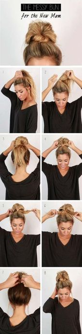 Fast easy messy bun updo for the new mum – Step by Step Hair Tutorial -… Fa. Fast easy messy bun u Messy Bun Hairstyles, Hairstyles For School, Trendy Hairstyles, Wedding Hairstyles, Bun Updo, Easy Updo, Braids Easy, Updo Diy, Updo Curly