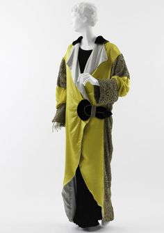Paul Poiret (French, 1879?1944)   Opera Coat, 1912   Yellow satin, pale blue silk overlaid with gold filé embroidery, and black silk velvet