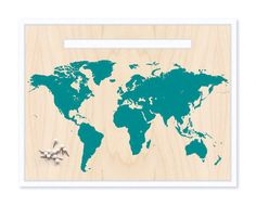 World Map & Pin Set - Teal Blue Mounted Map by Cabin on Etsy, $20.00 - Would be great to pin where your ancestors came from!