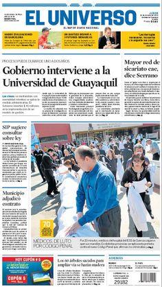 Portada de #DiarioELUNIVERSO del jueves 24 de octubre del 2013.  Las noticias del día en: www.eluniverso.com