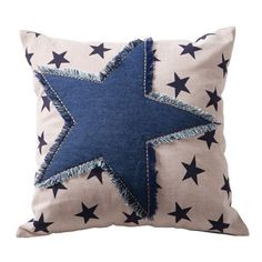 Print star cushion - denim Would also look good solid red or red stripe pillow with denim blue star Sewing Pillows, Diy Pillows, Decorative Pillows, Throw Pillows, Applique Cushions, Jean Crafts, Denim Crafts, Fabric Crafts, Sewing Crafts