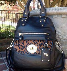 Emma Fox Leather Satchel Handbag Purse Black with Calf Hair Nwt $328 on eBay!    birthday present plz<3