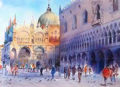 jean claude papeix ive been here Art Watercolor, Watercolor Pictures, Watercolor Landscape, Venice Painting, Batik Art, Photo D Art, Claude, Urban Sketching, Urban Art
