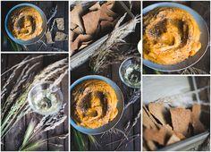 Silky smooth roasted sweet potato hummus with smashing sesame crackers.